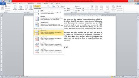 cara memberi nomor halaman terpisah cara memberi nomor halaman agar berbeda ms word cara