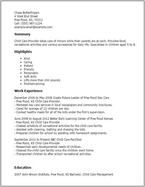 free resume for child care worker contemporary