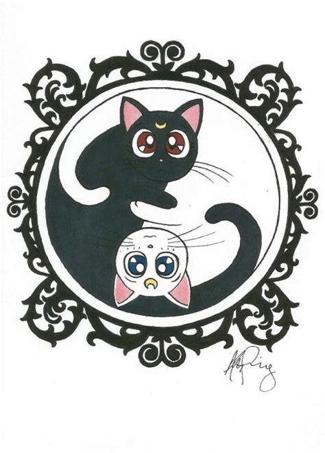 cat yin yang tattoo thecatart luna and artemis yin yang cat pictures art