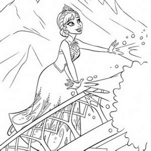 elsa  snow queen making snowflakes coloring page elsa