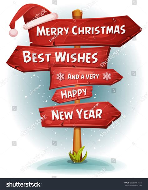 merry christmas wood road signs arrows illustration stock vector  shutterstock