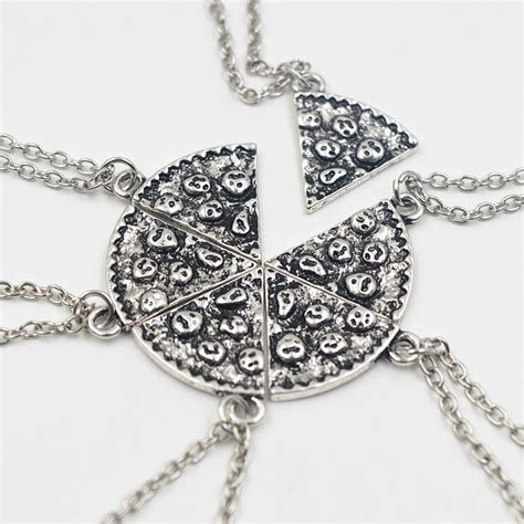 slice of pizza charms choker 6 pcs charms antique necklace