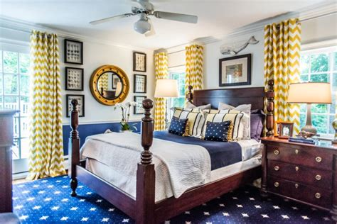 yellow and navy blue bedroom classic design doesn t equal stuffy or staid