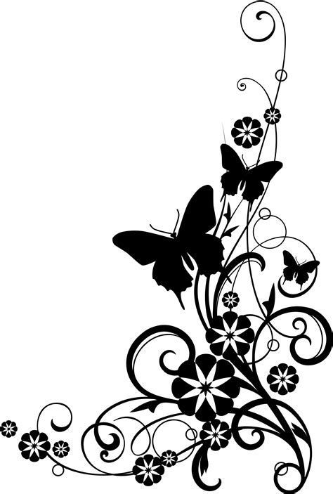 Black and white flower border clipart #41803   Free Icons