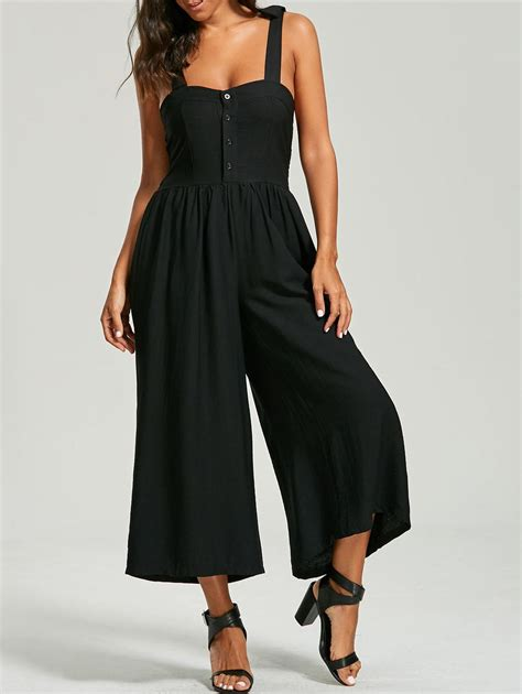 Black Buttoned Culottes Size S 12432 buttoned bowknot wide leg jumpsuit in black one size sammydress