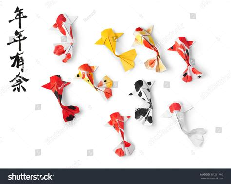new year origami fish handmade paper craft origami koi carp stock photo