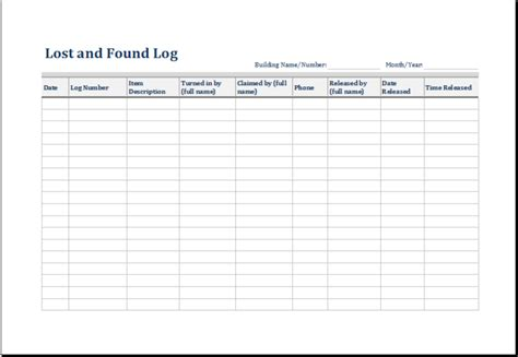 5 Lost And Found Log Form Template Excel Microsoft Excel Template And Software Lost And Found Email Template