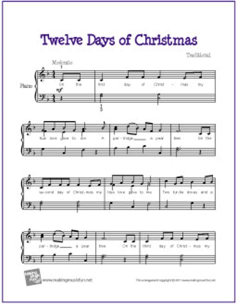 The Gift Piano Letter Notes Twelve Days Of Free Easy Piano Sheet