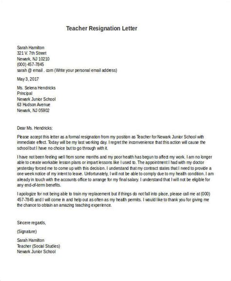 Withdrawal Letter From Preschool 31 formal resignation letters