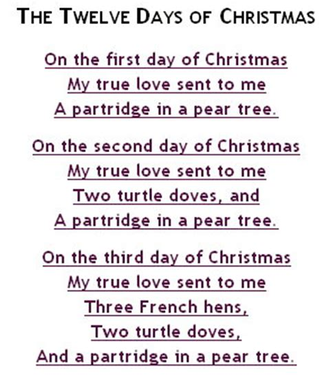 printable lyrics for 12 days of christmas learn english through songs