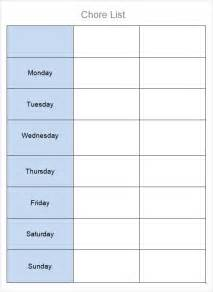 Chore List Template For by Chore List Templates 7 Free Documents In Word