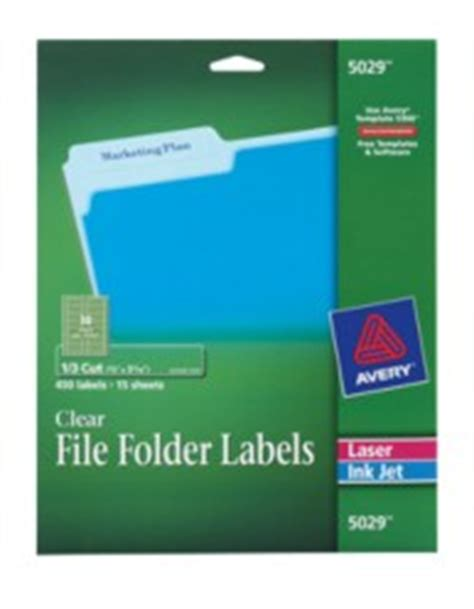 avery 5029 template clear file folder labels