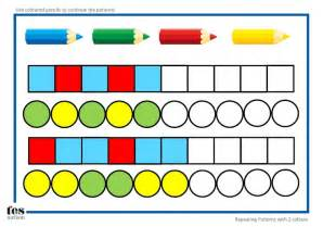 repeating patterns with 2 colours 4 worksheet activities