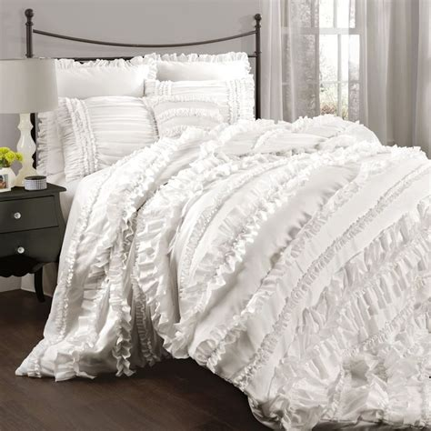 White Bed Set by Chic Ruffles White Comforter Set Country