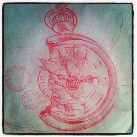 broken pocket watch tattoo clock drawing broken in time