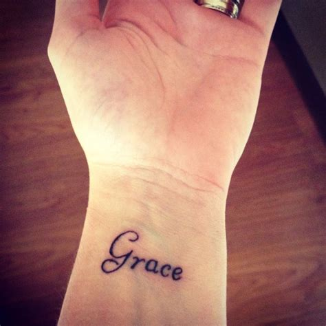 wrist tattoos script grace wrist my ink ideas