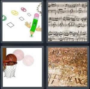 4 Letter Words Related To Basketball 4 pics 1 word answer for test basketball carving
