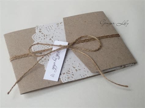Wedding Invite Kits Paper by Paper Lace Doilie Diy Pocket Invite Kit Vintage
