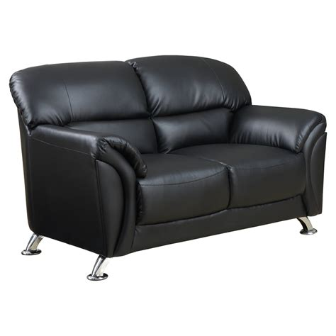 sofa global maxwell loveseat in black leather look dcg stores