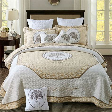 Quilted Bedspreads King Size Bed by 100 Cotton Bedspread Embroidery Quilt White Bed Cover Set