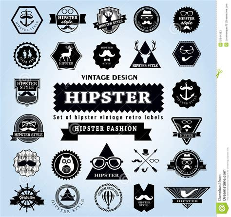 hipster style elements icons and labels stock vector set of hipster style elements labels and icons stock