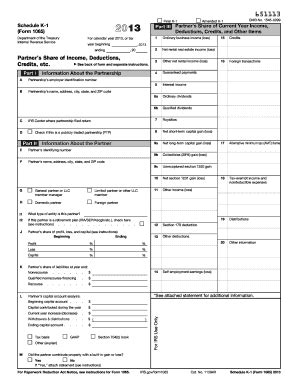 2013 form irs 1065 schedule k 1 fill online, printable