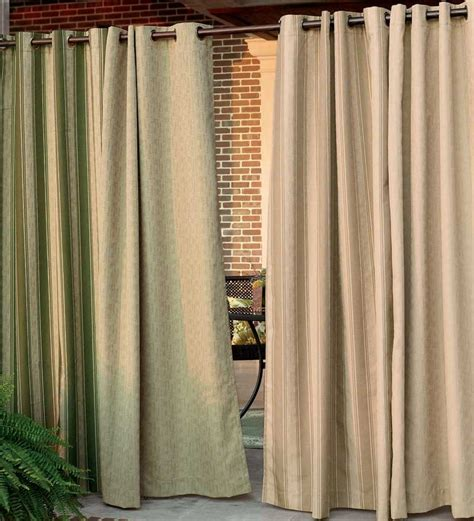 outdoor grommet curtains 108 quot l olefin outdoor grommet top curtain panel porch
