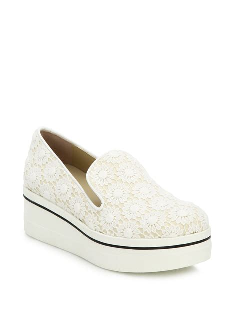 white lace sneakers stella mccartney lace platform slip on sneakers in white