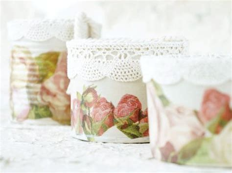 Decoupage Tins - decoupage tin cans with roses and lace trim tin cans