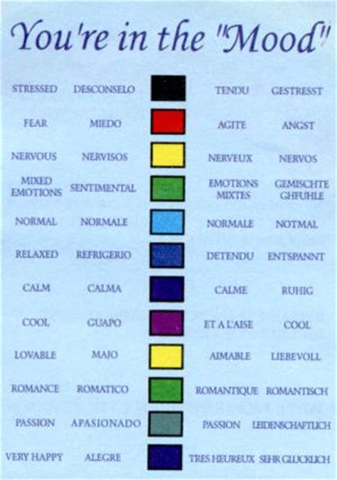 colors for mood mood rings and charts on pinterest color meanings color