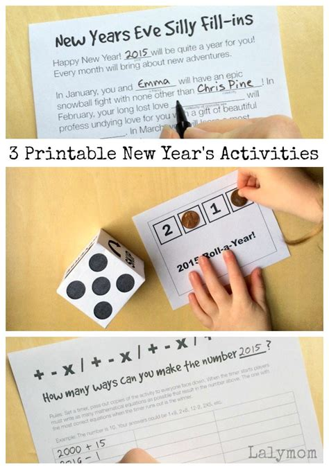 new year activities on 3 printable new year s activities