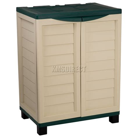 Starplast Outdoor Plastic Garden Utility Cabinet With 2 Outdoor Storage Shelves
