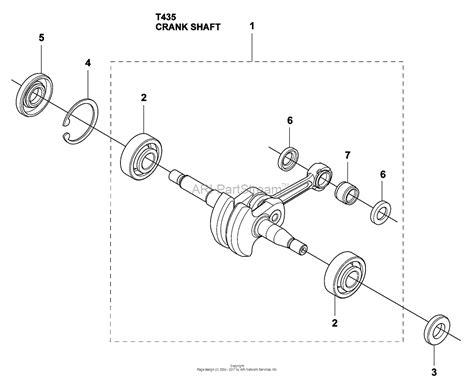 husqvarna 435 parts diagram husqvarna t 435 2009 02 parts diagram for crankshaft