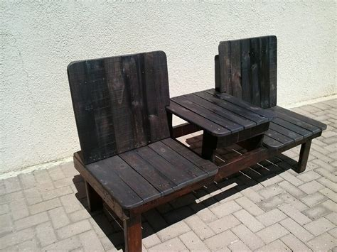 double benching pallet double chair bench design
