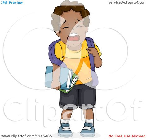 cartoon of a crying black boy royalty free vector