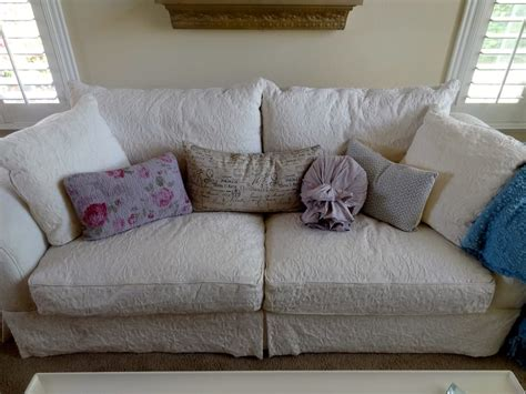 down filled couch macy s shabby chic white brocade down filled sofa love