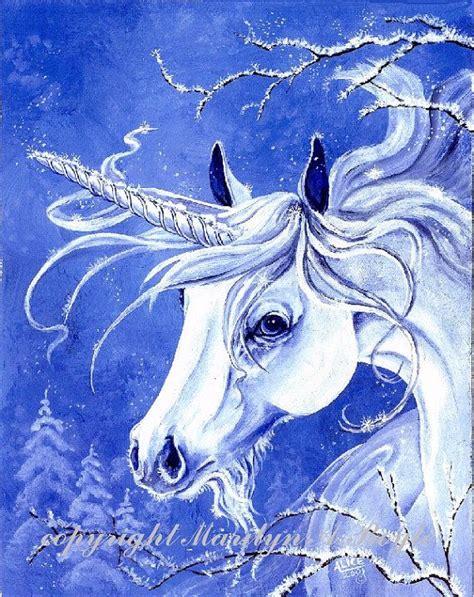 born unicorn meaning print fantasy unicorn winter frost blue in color 8 x