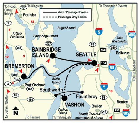 seattle islands map seattle area route map