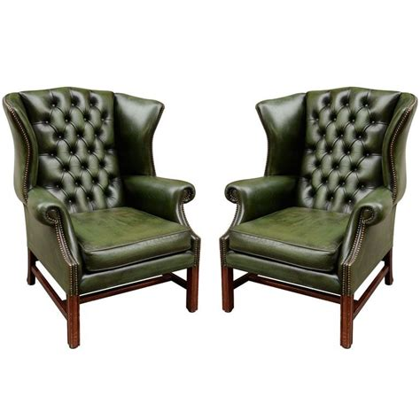 leather wing back chair pair of green leather wingback chairs objects of