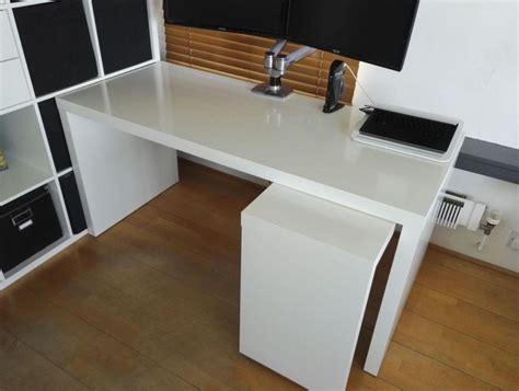 White Ikea Malm Desk With Pull Out Panel In Chelsea Pull Out Desk