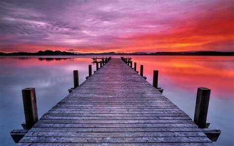 long boardwalk colors  sunrise  lake widescreen