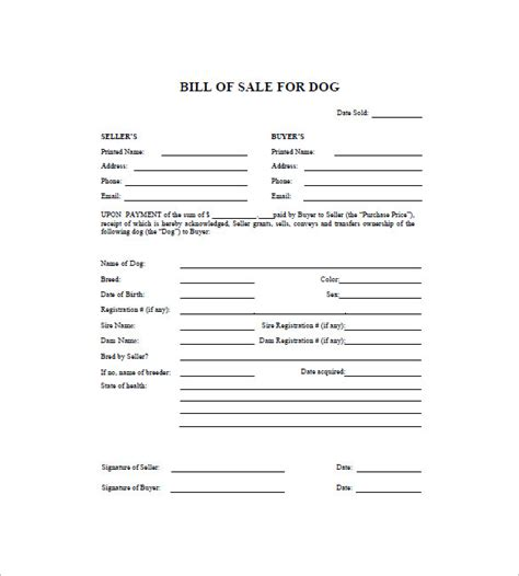 Receipt Template Dogs by Bill Of Sale 8 Free Sle Exle Format
