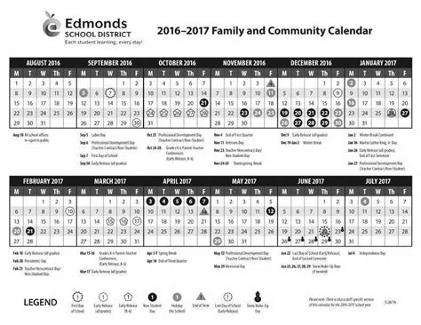 Calendar Today 2016 Edmonds School District Releases Calendar For 2016 17