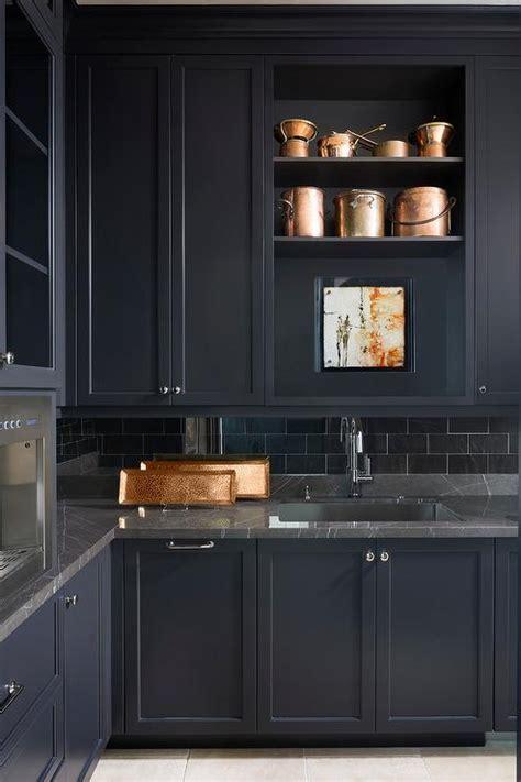 black marble  black butler pantry cabinets