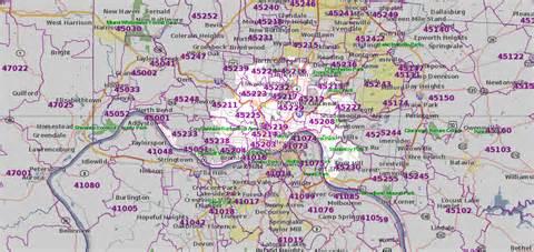 Cincinnati Zip Code Map by Map Of Cincinnati By Zip Code Pictures To Pin On Pinterest