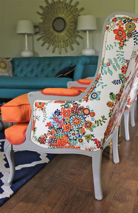 Upholstery Chair Fabric by Vintage Wingback Chairs Like The Painted Wood And Contrasting Fabric Diy