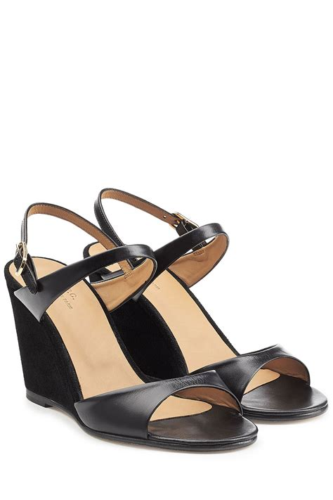 Leather Wedges 1 a p c leather and suede wedge sandals black in black lyst