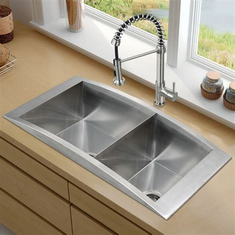 Kitchen Sinks Houzz Vigo Platinum Series Topmount Kitchen Sink Combo Vg15120 Contemporary Kitchen Sinks New