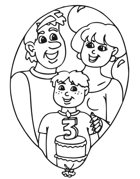 birthday coloring pages for 4 year olds birthday coloring page a three year old with his cake