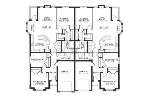 duplex layout single story duplex floor plans google search